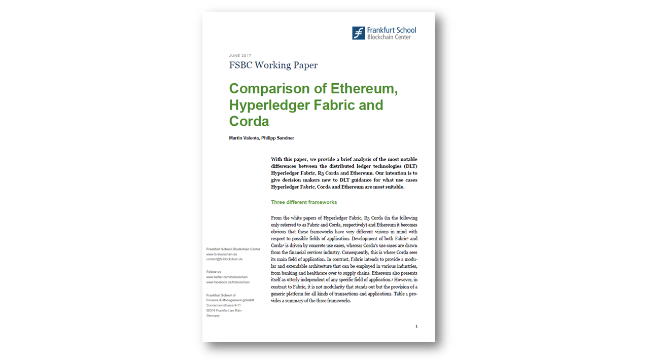 Comparison of Ethereum, Hyperledger Fabric and Corda