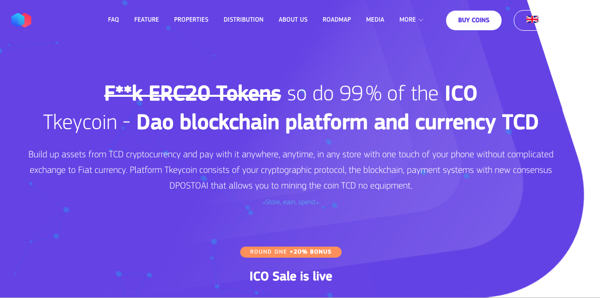 F**k ERC20 Tokens so do 99 % of the ICO Tkeycoin - Dao blockchain platform and currency TCD